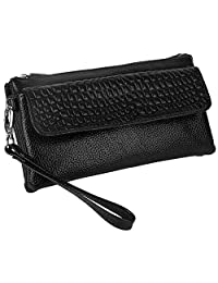 Yaluxe Women's Large Capacity Genuine Leather Smartphone Wristlet Clutch with Shoulder Strap Black