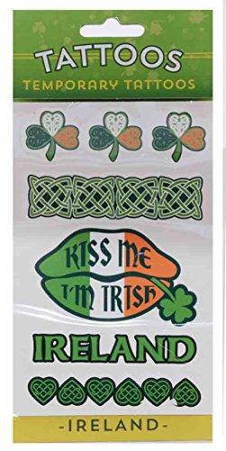 Temporary St. Patrick's Day Tattoo Pack with Tricolour Celtic Symbols & ''Kiss Me I'm Irish'' ()