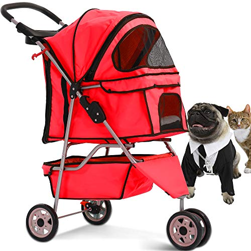 Pet Stroller Jogger Cat Dog Cage 3 Wheels Stroller Travel Folding Carrier Strolling Cart with Cup Holders and Removable Liner 35Lbs Capacity Large Doggie Stroller for Small-Medium Dogs, Cats (Best Pet 3 Wheel Pet Stroller)