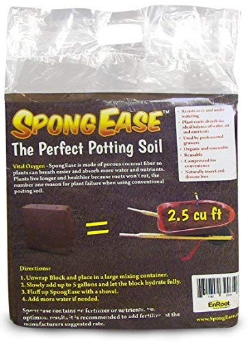 Fiber Grow Growing Mix - SpongEase Coconut Coir Compressed Block 5 kg (11 lbs) expands to 18.7 Gallons (2.5 Cu Ft) - Ideal Growing Medium for potting mix - Healthy roots, Healthy plants and Bountiful Harvest