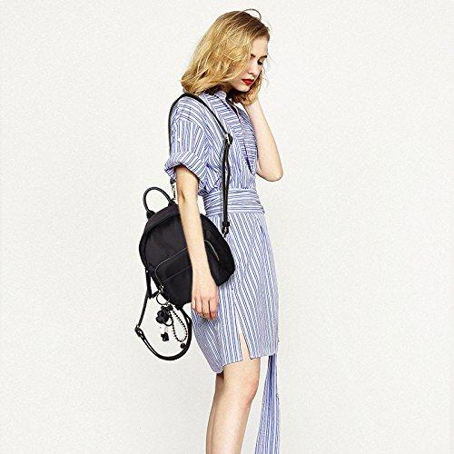 WTUS Mujer nuevo estudiante de Oxford hombros bolsos de estilo occidental de moda mini mochila mochila Joker negro