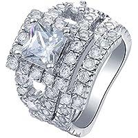 ERAWAN Women Fashion Gemstone CZ Engagement Ring Set Bride Wedding Band Rings Size 6-10 EW sakcharn (8 #)