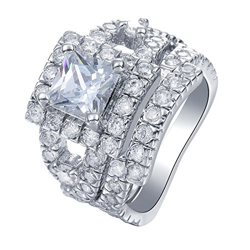 ERAWAN Women Fashion Gemstone CZ Engagement Ring Set Bride Wedding Band Rings Size 6-10