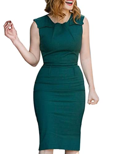 VfEmage Womens Elegant Vintage Ruched Wear To Work Business Casual Pencil Dress