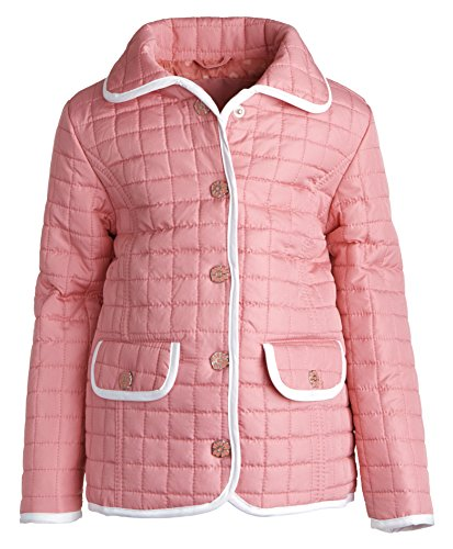 Urban Republic Girls Light Padded Quilted Spring Jacket with Back Ruffles - Cotton Candy (12 Months)