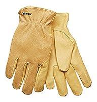 KINCO 94WA-L Men's Unlined Grain Pigskin Leather Glove, Wrap Around Index Finger, Large, Golden