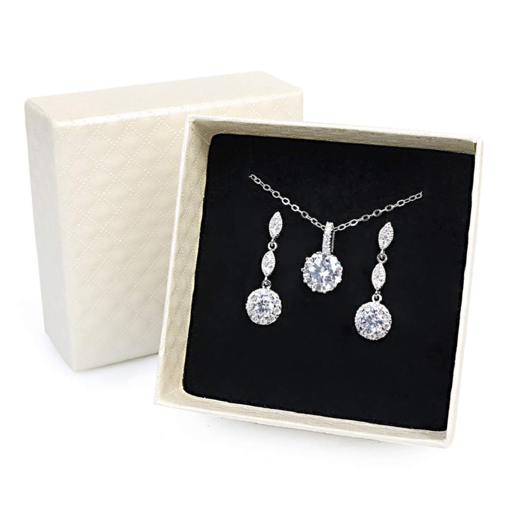 iMing Fashion Earrings Necklace Cubic Zirconia Round-Cut Halo Stud Dangle Earrings Necklace Jewelry Set J01