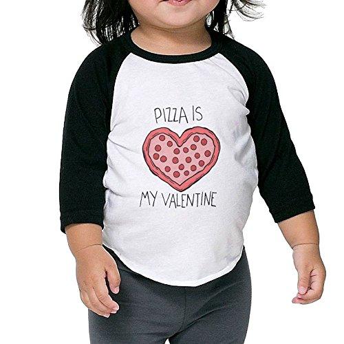 ZPEN Kids Raglan T Shirts Pizza is My Valentine Baseball 3/4 Sleeves Baby Tees School Uniforms