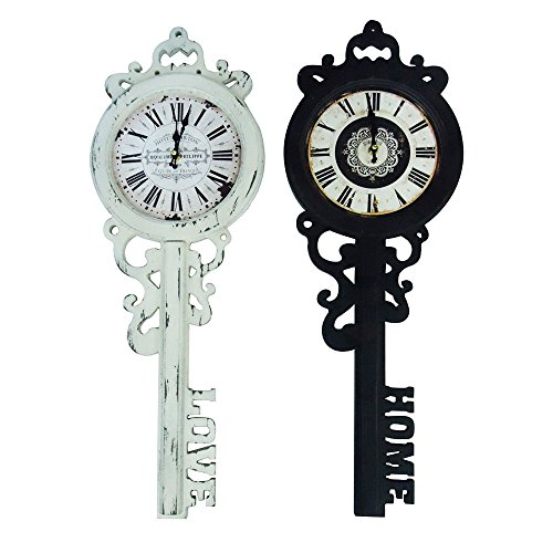 27'' Old Fashioned Look French Skeleton Key with Love Bottom Hanging Wall Clock by Decorative Wall Clock