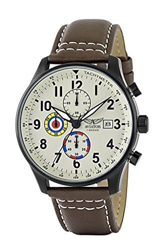Aviator F-Series Men's Vintage World War II Pilot Design Quartz Chronograph 100 Meters Waterproof Watch Brown Leather Strap Wristwatch