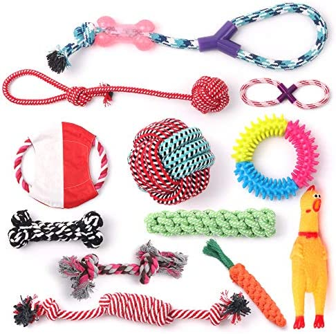 Supreme Products Pettoys World -Puppy Dog Chew Toys,12pcs Dog or Puppy Rope Toys, Cotton Rope for Small and Medium Dogs,100% Authentic Materials