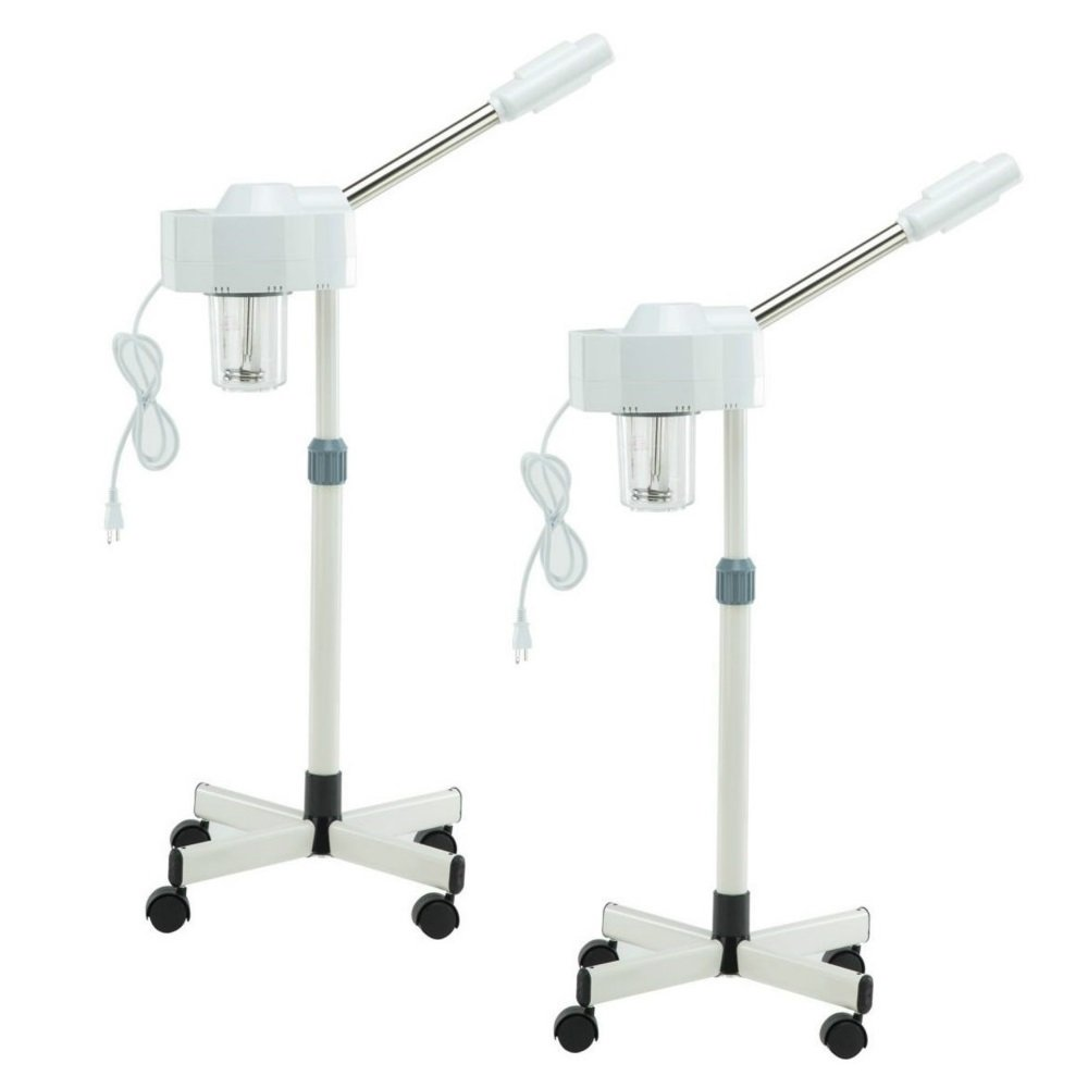 Set of 2 Spa Beauty Ozone Facial Steamer Professional Hot Facial Ozone Steamer for Facials Salon Spa Beauty Equipment for face on wheels