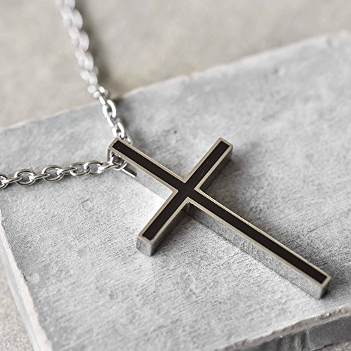 - Handmade Long Stainless Steel Necklace For Men Set With Cross Pendant By Galis Jewelry - Cross Necklace For Men - Religious Necklace For Men - Christian Necklace For Men