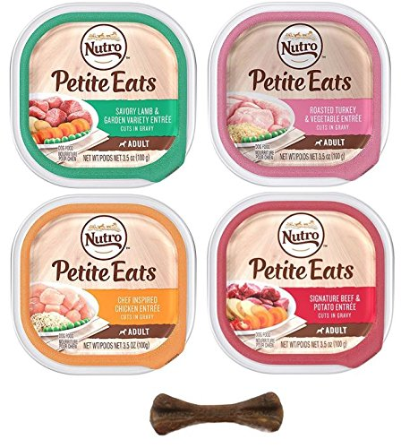 Nutro Small Breed Petite Adult Wet Dog Food - Natural & Grain Free - 4 Flavor Variety Pack - 8 Trays, 3.5 Oz Each - Plus Natural Dog Bone & Poop Bags (10 Items Total)