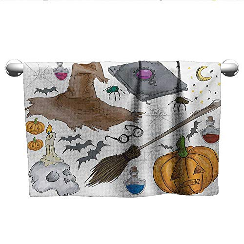 alisoso Halloween,Fitness Towels Magic Spells Witch Craft Objects Doodle Style Illustration Grunge Design Skull Hand Towel for Bathroom Multicolor W 20