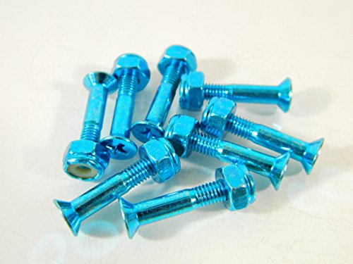 1 Inch Color Skateboard Mounting Hardware Screws Bolts (Chrome Blue)