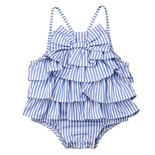 newEmergingstyle Toddler Baby Girl Backless Bowknot Romper Bodysuit Kid Sleeveless Stripe Ruffle Layers Jumpsuit Outfits Clothes (Bow, 0-3 Months)