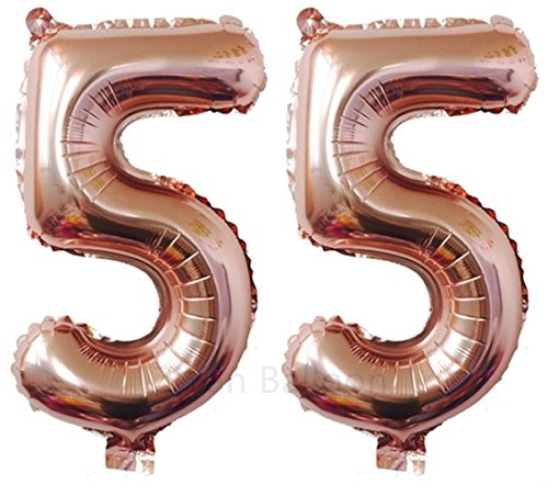 ZiYan 40 Inch Giant 55th Rose Gold Number Balloons,Birthday/Party balloons -