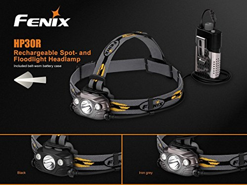 Fenix HP30R 1750 Lumen CREE LED Headlamp (Iron Grey) with 2 X Fenix 18650 Li-ion rechargeable batteries and Four EdisonBright CR123A Lithium batteries bundle by Fenix (Image #2)