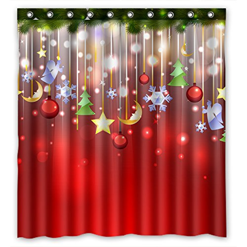 ZHANZZK Merry Christmas Xmas Tree Snowflake Shower Curtain Waterproof Polyester Fabric Bathroom Shower Curtain 66