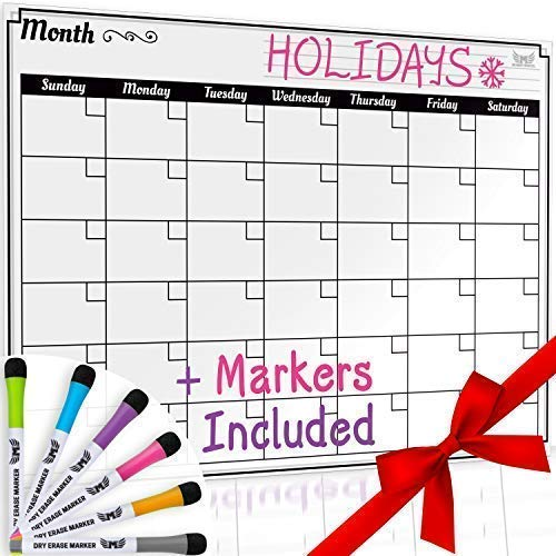 Dry Erase Monthly Calendar Set-Large Magnetic White Board & Grocery List Organizer For Kitchen Refrigerator - Best For Smart Family Planners - Free Markers - 17