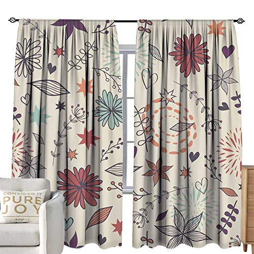 (Thermal Insulated Drapes for Kitchen/Bedroom Vector cute seamless floral pattern with flowers leaves hearts Can be used for scrapbooking wallpapers pattern fills web page backgrounds surface textures)