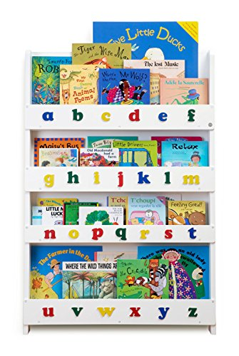 Tidy Books® - The Original Children's Bookcase in White with Alphabet - Front Facing Bookshelf - Perfect Children's Book Storage 115 x 77 x 7 cm
