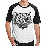 Sakanpo Men Black Printed Owl Raglan Short Sleeve Baseball T Shirt