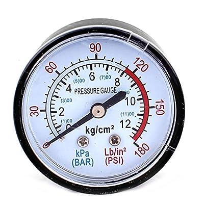 uxcell 13mm 1/4BSP Male Thread Water Air Compressor Pressure Gauge Meter