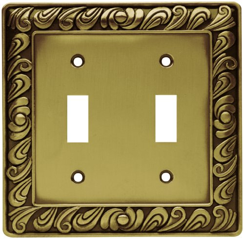 Antique Double Plate - Franklin Brass 64040 Paisley Double Toggle Switch Wall Plate/Switch Plate/Cover, Tumbled Antique Brass