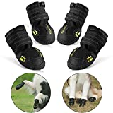 RoyalCare Protective Dog Boots, Set of 4 Waterproof Dog Shoes for Large Dogs - Black (5#)