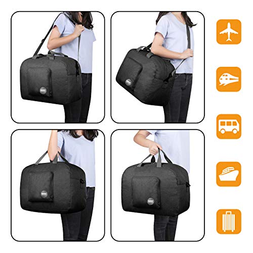 WANDF 16″ ~ 36″ Foldable Duffle Bag 20L ~ 120L for Travel Gym Sports Packable Lightweight Luggage Duffel Water-resistant