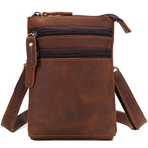 FANGDA Genuine Leather Brown Fanny Small Messenger Shoulder Satchel Waist Bag Pack for Men (Small) by FANGDA (Image #1)