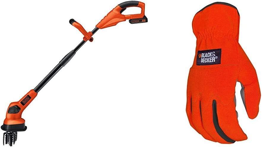 BLACK+DECKER 20V MAX Tiller with Easy-Fit All Purpose Glove (LGC120 & BD505L)