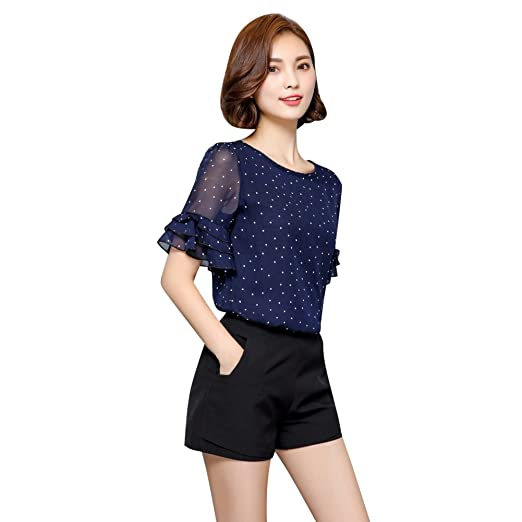 ad68a1e3426bd Image Unavailable. Image not available for. Color  EFINNY Women Dot Printed  Chiffon Shirts Short ...