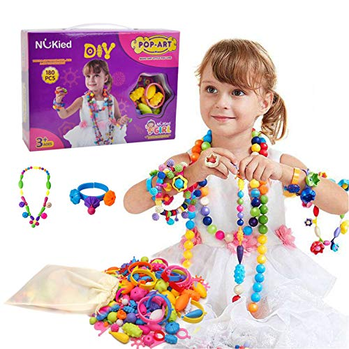 Snap Pop Beads Girls Toy - Happytime 180 Pieces DIY Jewelry Kit Fashion Fun for Necklace Ring Bracelet Art Crafts Toys for 3, 4, 5, 6, 7 ,8 Year Old Kids Girls -
