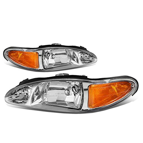 2002 02 Ford Escort Wagon - For 97-02 Ford Escort 4-Door Chrome Housing Amber Corner Headlight/Lamp - Pair