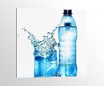 alu-dibond Agua Agua Mineral Cristal Botella Azul Imagen en aluminio aludibond UV impresión Cepillado