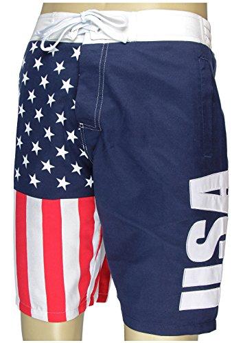 Men's USA Flag Fourth of July Swim Board Shorts X-Large ()