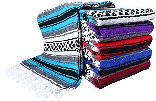 Heavyweight Premium Yoga Blanket Throw Blanket in Classic Mexican Falsa Pattern. Woven Acrylic, 3.4 lb blanket measures 57