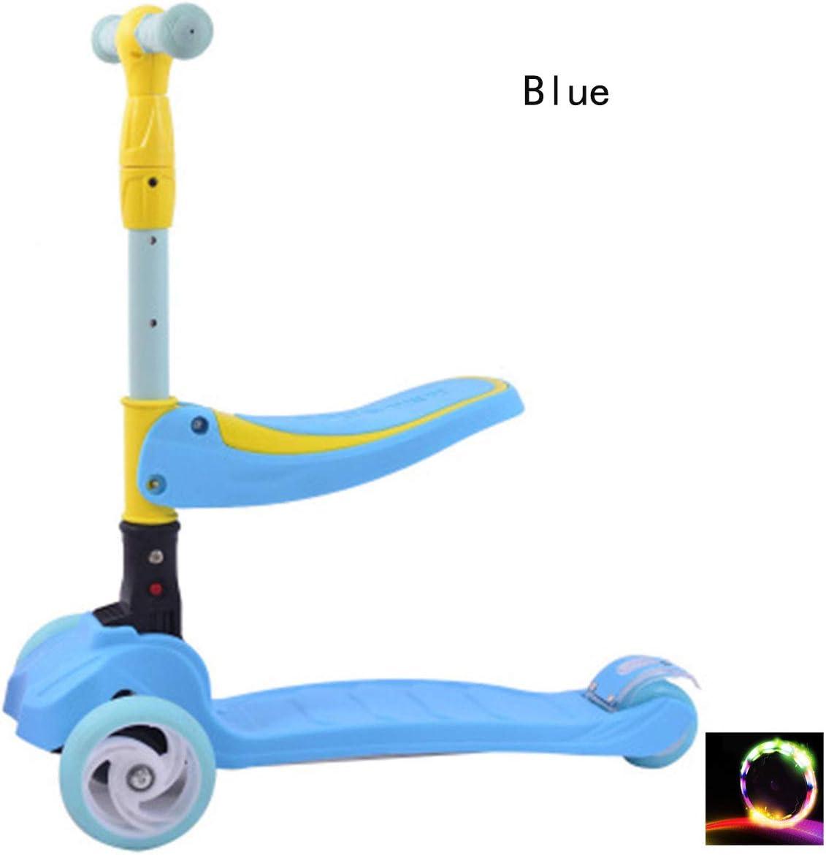 子供のスクーター、男の子と女の子のホリデーギフトに適したライトキックスクーターミニスケートボード折りたたみ式デザイン、折りたたみ(シート付き) B