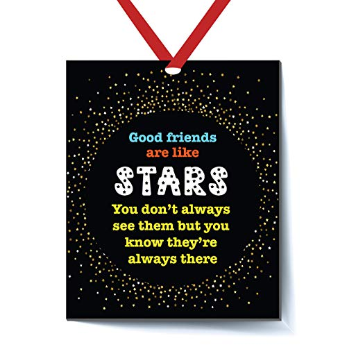 Best Friend Ornament Good Friends are Like Stars - Christmas Ornament for Friends - Friendship Ornament - Christmas Ornaments for Friends - Christmas Ornament - Red Ribbon and Free Gift Bag