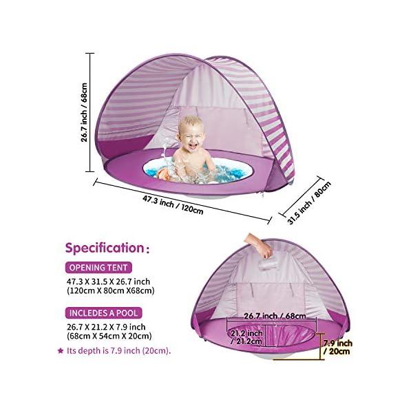 Yalojan Tenda da Spiaggia per Bambini, Pop-up Tenda per Bambini con Piscina per Bambini,Tenda Pieghevole Portatile… 5 spesavip