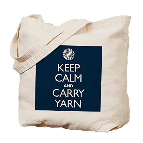 CafePress Navy Keep Calm And Carry Yarn - Natural Canvas ...