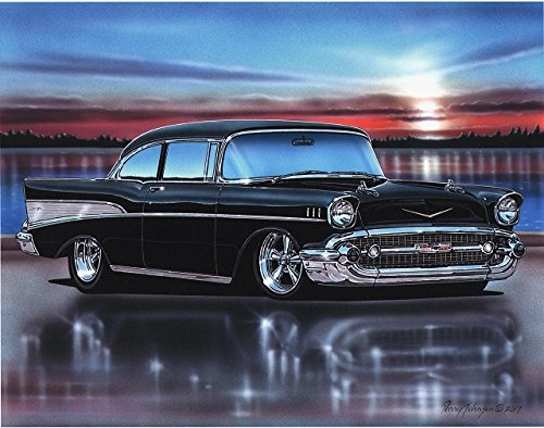 1957 Chevy Bel Air 2 Door Sedan Hot Rod Car Art Print Black 11x14 Poster