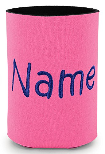 Personalized Neon Pink Can Cooler with Embroidered Name -