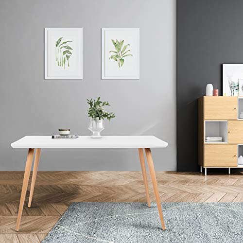 Mc Haus LATT - Mesa Comedor color Blanco de madera MDF diseno Nordico, Mesa cocina salon Diseno Rectangular funcional de madera Natural 128,5x78,5x75cm