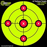 """rifle target stand - """"100-PACK"""" Sight-In SHOOTING TARGETS - Large 13 X 13"""" Maximum Visibility Bullseye Sight-In Targets For Shooting - Neon Green, Bright and Colorful - Easy To See Your Shots - 150 Repair Stickers"""