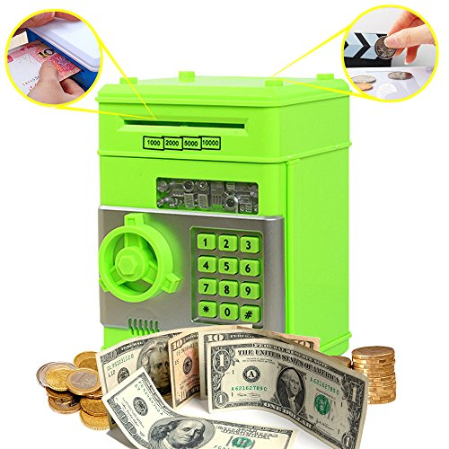 Standard Telephone Codes (Coin Bank for Kids,Kpaco Code Electronic Money Banks,Mini ATM Coin Password Box Saving Banks,Baby Toys Gifts Birthday Gifts for Kids - Green)