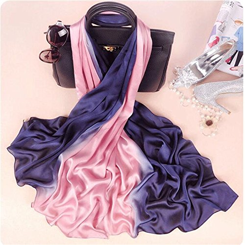 AHUIOPL Brand Women Silk Scarf Fashion Soild Spring Echarpe Smooth Summer Wrap Female Voile Luxury Scarves Foulard Beach Cover-Ups,Purple Pink - Voile Cover